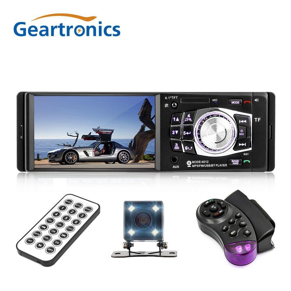 1 Din 4.1 pouces autoradio voiture lecteur multimédia MP3 MP5 Audio stéréo Radio Bluetooth FM télécommande Support caméra de recul