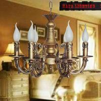 País americano Clásico de bronce Antiguo Araña de Hierro Pasillo Iluminación Del Pasillo Porche Sala de estar Decoración araña de Hierro