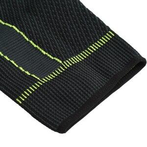 Популярные Эластичные желто-зеленые полоски, спортивные удлиненные наколенники, Нескользящие бандажные компрессионные гетры для мужчин и женщин
