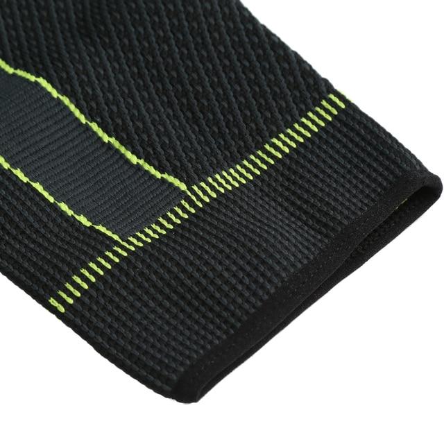 Hot elastic yellow green stripe sports lengthen knee pad leg sleeve non slip bandage compression leg