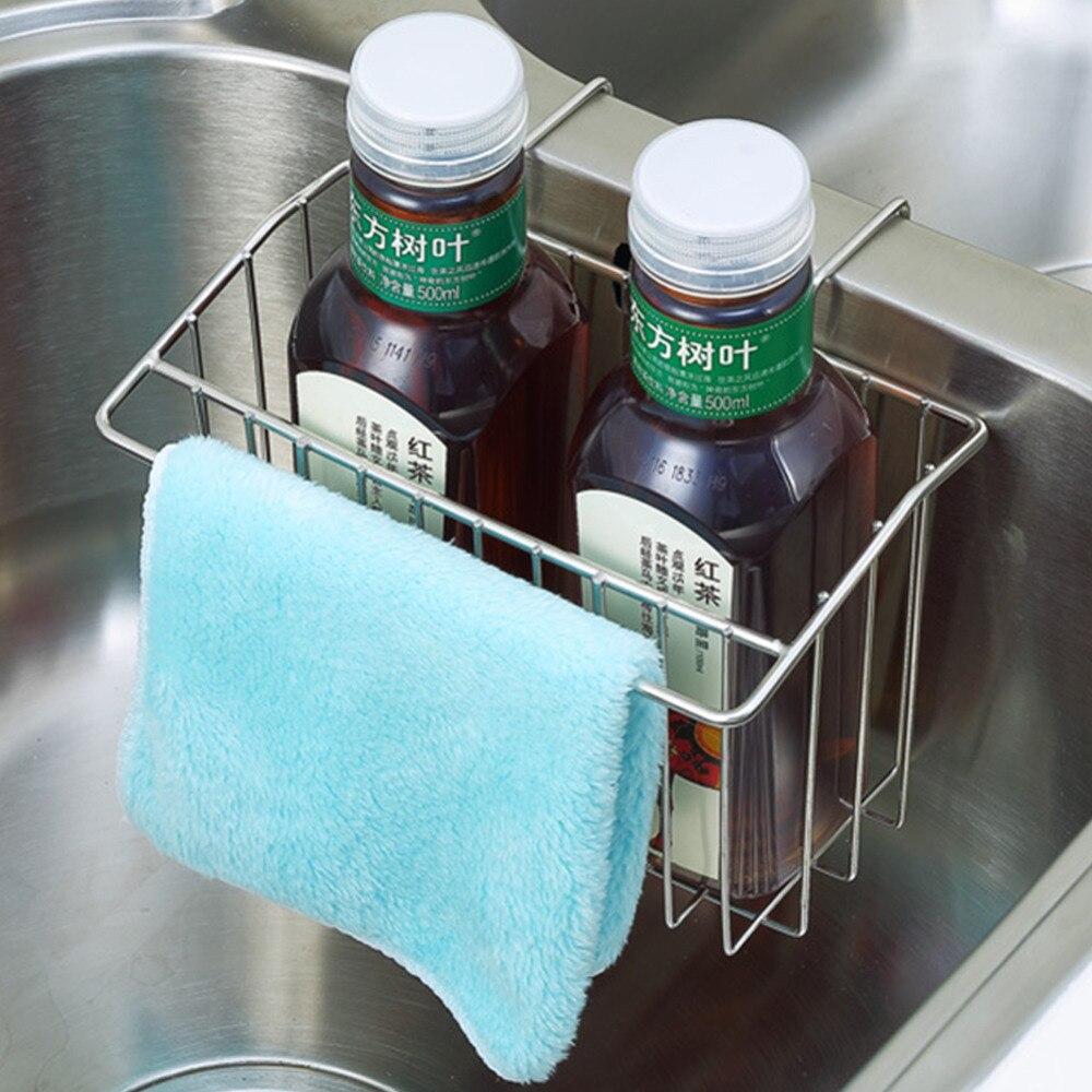 1Pc Stainless Steel Sink Shelf Soap Sponge Drain Rack Shelves ...