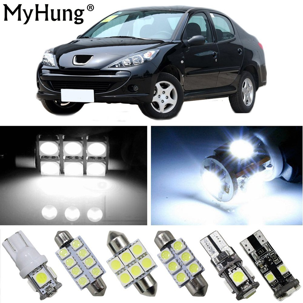 Interior Led Light For <font><b>PEUGEOT</b></font> 2008 3008 <font><b>301</b></font> 307 308 408 206 207 508 RCZ Car Replacement Bulbs Dome Map <font><b>Lamp</b></font> Bright White 12PCS image