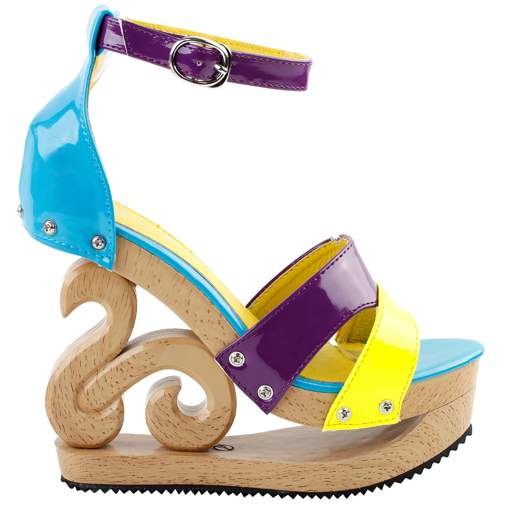 LF30833 Sexy Yellow Blue Purple Strappy Open Toe Wooden Wedges Platform Clogs Sandals
