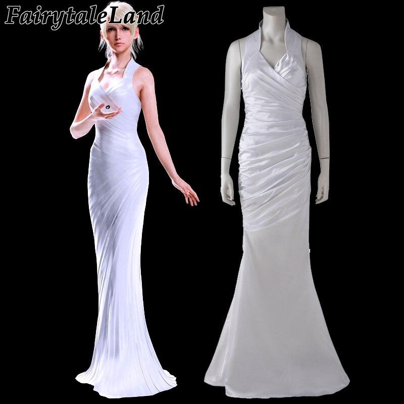 Lunafreya Nox Fleuret robe Final fantaisie XV Lunafreya Nox Fleuret Coplay Costume adulte blanc sans manches robe de soirée pour femme