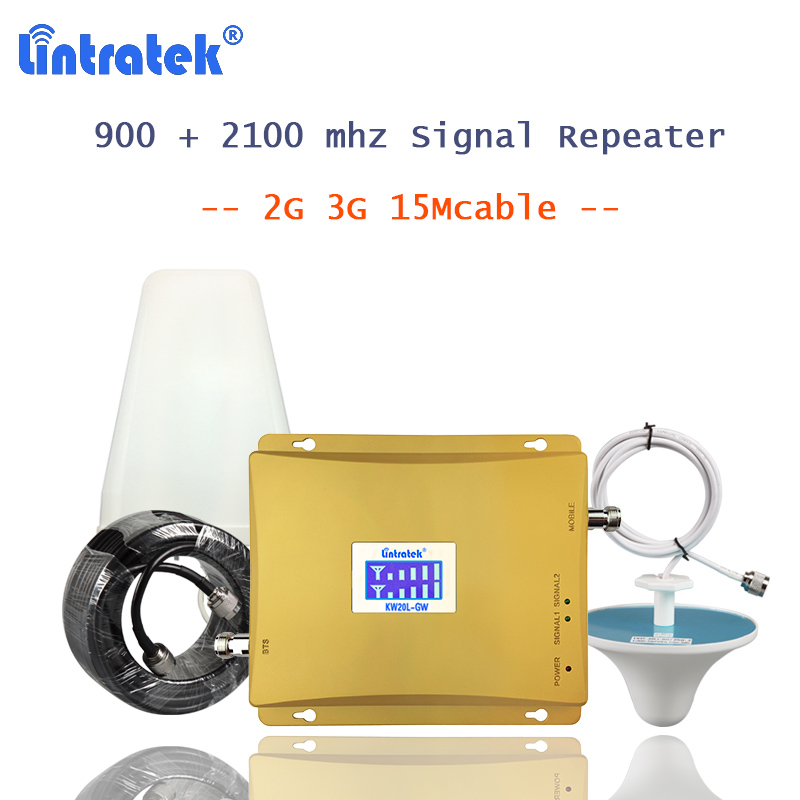 Lintratek gsm900 répéteur gsm 2100 (Bande 1) téléphone portable booster amplificateur de signal 2g 3g cellulaire et internet 2100 amplificateur S55