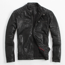 Men's Leather Jacket Sheep Skin Coat Stand Collar Slim Motorcycle Jacket