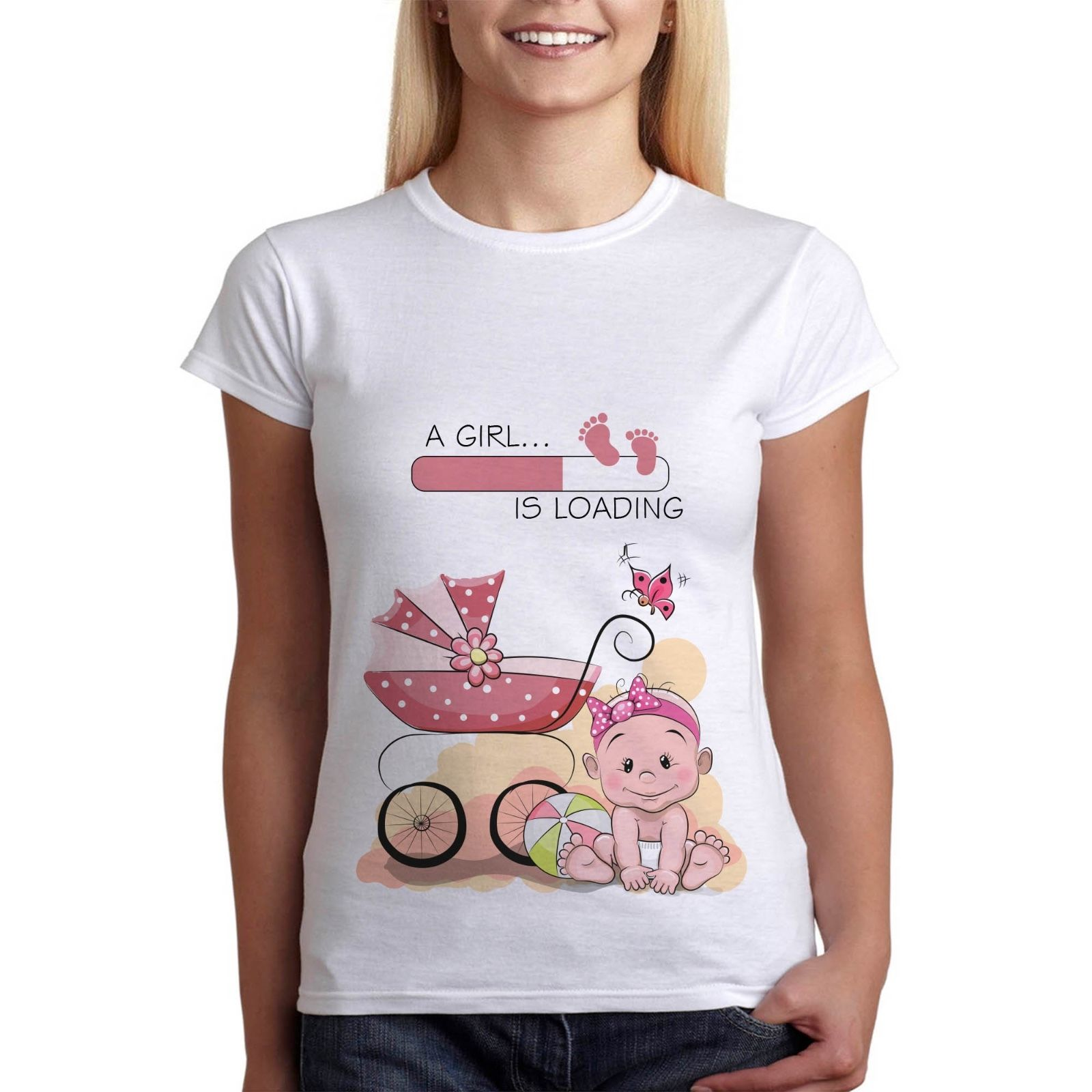 Funny Pregnancy T Shirt Girl Is Loading Baby Maternity Clothes Tees