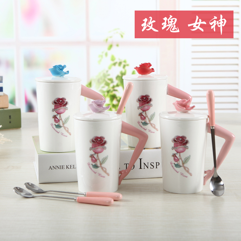 2018 Valentines Day Rose goddess Coffee Mugs Tea cup ceramic cup with Spoon Lid water bottles Breakfast Milk cups Lovers gift