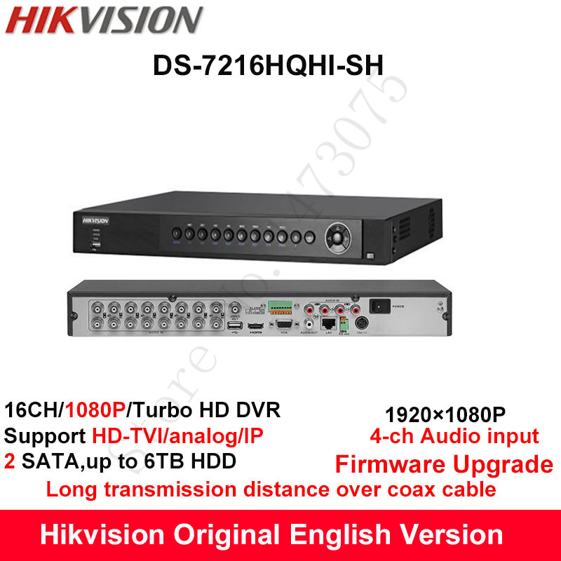 Hikvision Original English Turbo HD DVR DS-7216HQHI-SH Support HD-TVI/Analog/IP Camera 16ch 2HDD Full channel@1080P real-time