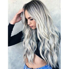 Women Gradient Grey Long Curly Wig Synthetic Wavy Hair Heat Resistant Wig Women Natural Color Hair Cosplay Long Wig For Women недорого
