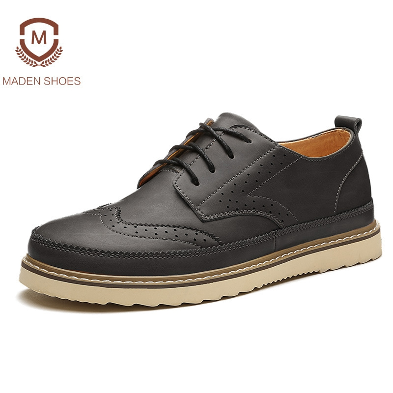 Maden 2018 Spring Winter Genuine Leather Men Casual Shoes High Quality Fashion Brogue Shoes Handmade Footwear Plush Winter Shoes 2017 new spring imported leather men s shoes white eather shoes breathable sneaker fashion men casual shoes