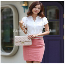 Fashion Short Sleeve Chiffon Blouse Beading V Neck Ruffled Shirt Office Casual Women Summer Blouse 2015