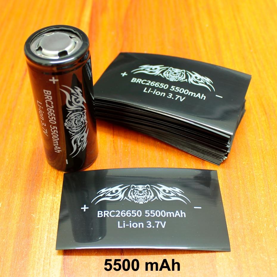 100pcs lot Lithium Battery Accessories Pvc Heat Shrinkable Tube 5500mah Capacity Label Film 26650 Skin