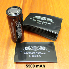 100pcs/lot Lithium Battery Accessories Pvc Heat Shrinkable Tube 5500mah Capacity Label Film 26650 Skin