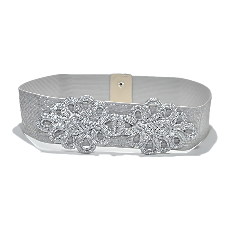 Ladies New Elastic Gold Silver belt Band Stretch Flower Decorative Wide Leather Belts For Women High Quality Fashion 2019 Bg-924