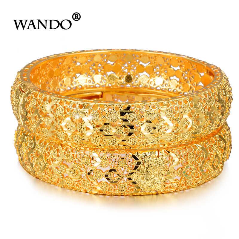 WANDO 2pcs/lot Newest Gold Bracelet for Women Gold Color&Brass,Dubai Bangles Africa Hand Chain Jewelry Ethiopian/Arab Gift b153