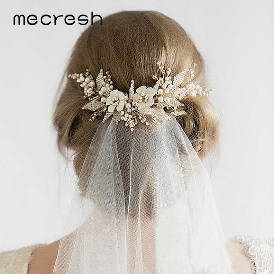Mecresh Floral Beads Bridal Hair Combs Wedding Hair Accessories for Girls Rhinestone Hair Comb Princess Hairpieces Jewelry FS182