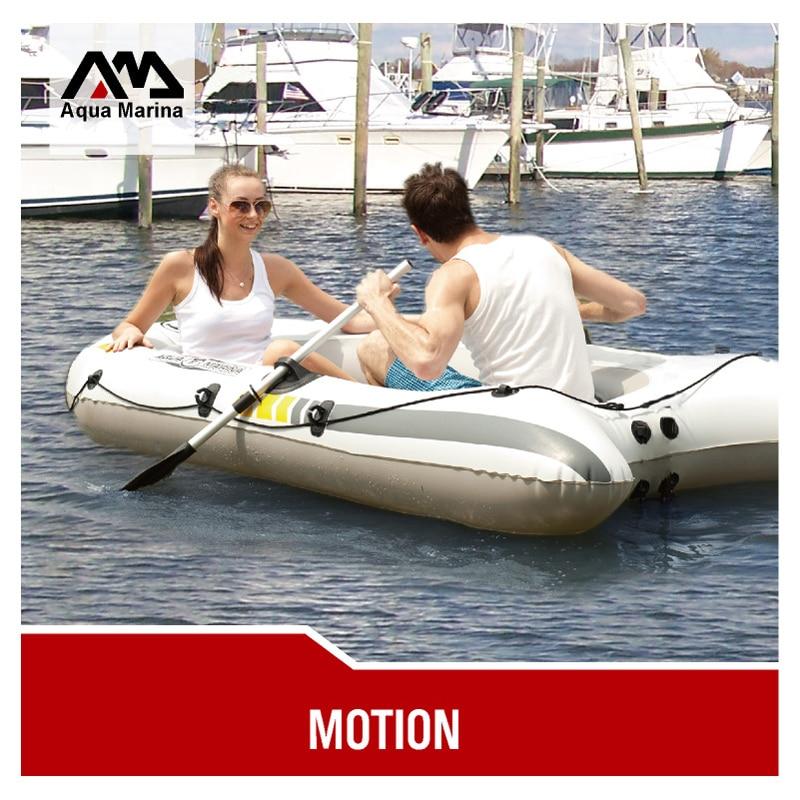 AQUA MARINA MOTION 2 Person thick PVC inflatable boat fishing dinghy raft cushion paddle foot pump