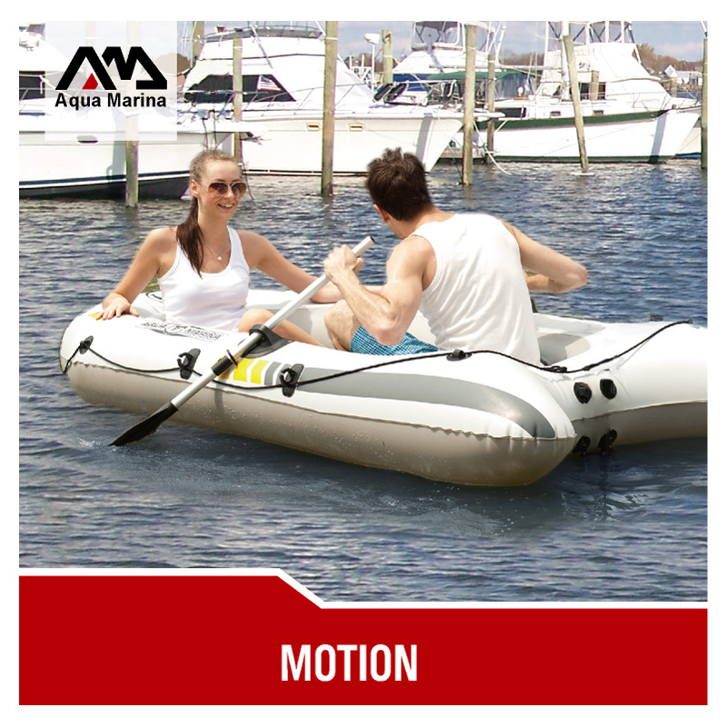 AQUA MARINA MOTION 2 personas grueso PVC bote inflable pesca bote cojín de balsa paleta bolsa de bomba de pie motor de montaje deporte