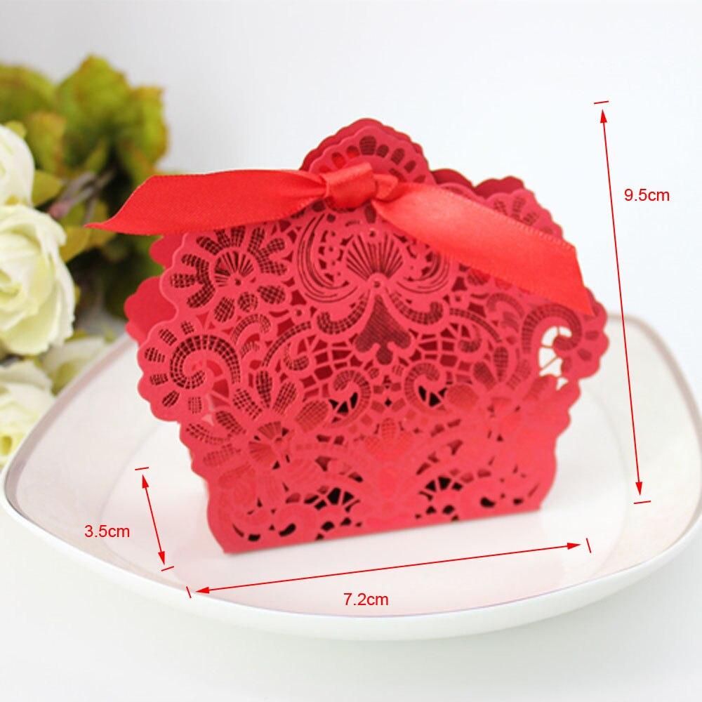 Бесплатная доставка 50 х Свадебный коробка конфет золото/красный лазерная резка свадьбы пользу Коробки Casamento свадебной подарки для гости