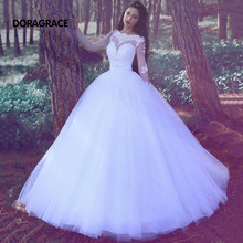 New Arrival Glamorous Applique Tulle A Line Long Sleeves Wedding Gowns Designer Dresses DG0108