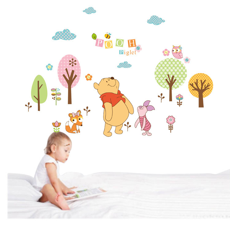 Sweet winnie pooh bear stickers decals kids cartoon tree for Baby mural stickers