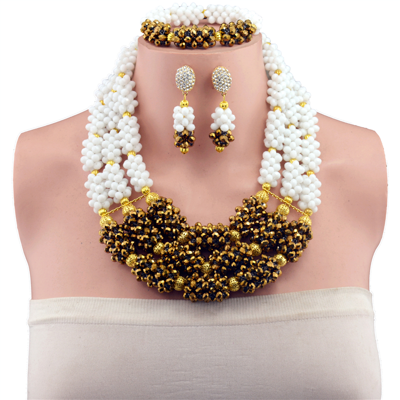 2017 Latest Nigerian Wedding African Beads Jewelry Set White Gold Color Costume Crystal Beads Jewelry Necklace Set Free Ship AJS graceful white african bridal beads jewelry set nigerian crystal rhinestone bridesmaid women wedding necklace free ship qw677