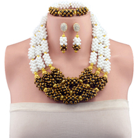 2017 Latest Nigerian Wedding African Beads Jewelry Set White Gold Color Costume Crystal Beads Jewelry Necklace Set Free Ship AJS