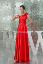 free shipping modest 2013 new design hot sale handmade flowers one shoulder custom size plus size gown long red Bridesmaid Dress free shipping modest 2013 new design hot sale handmade flowers one shoulder custom size plus size gown long red bridesmaid dress