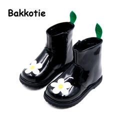 Bakkotie/2018 г. Новинка зимы для маленьких девочек цветок ботинки «Мартенс» модная детская черная теплая обувь маленьких мальчиков