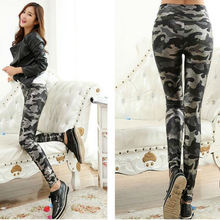 Camouflage Leggings Jeans Stretch-Pants Faux-Leather High-Waist Women Snake