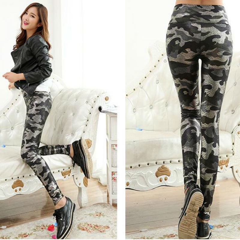 Camo Leggins Faux Leather Woman   Leggings   High Quality High Waist Jeans Camouflage   Leggings   For Women Stretch Pants Women Snake