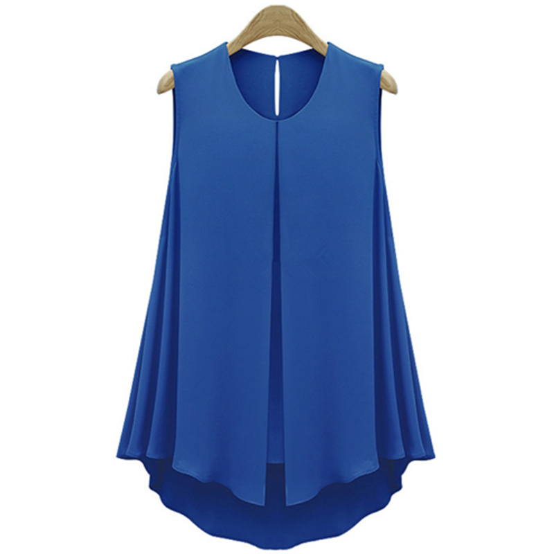 Fashion Ol style Women chic chiffon chemise Tops Sleeveless O-neck Casual   Shirt   Blue&Apricot   Blouse   Blusas Summer Ruffles   Shirt