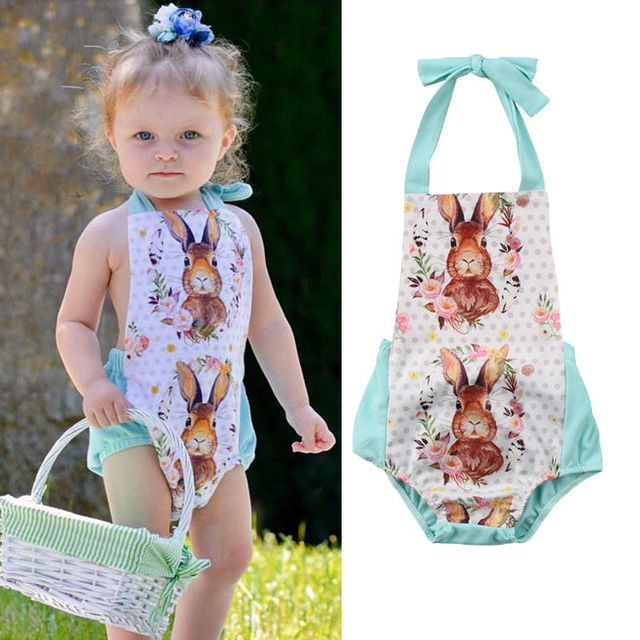 d145a6515266 Flower Easter Baby Girls Backless Romper Cute Baby suit Summer Girls  Outfits Jumpsuit Clothes 0-18M
