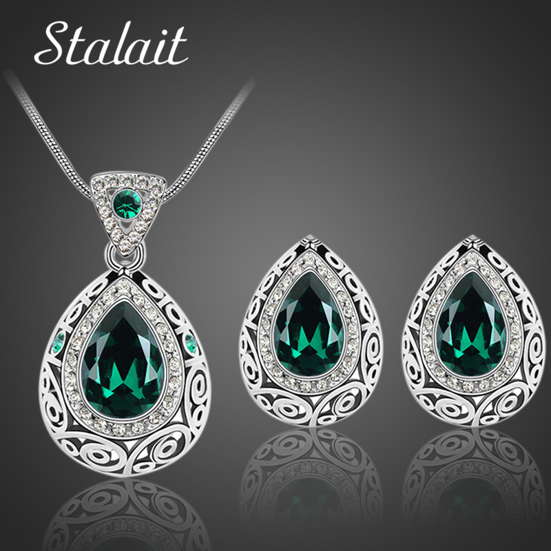 Bridal Pernikahan Set Perhiasan Klasik India Antik Warna Silver Water Drop Kristal Berlian Imitasi Anting Kalung perhiasan Set