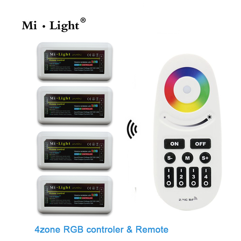 Milight  RGBW Controller group control 2.4G 4-Zone RF Touch For RGBW Led Strip Light milight remote wifi 4x rgbw led controller group control 2 4g 4 zone wireless rf touch for 5050 3528 rgbw led strip light