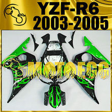 Motoegg Injection Molded Fairings Fit YZF-R6 YZF R6 03–05 Green Flames  #Y64M27   Motorcycle plastic