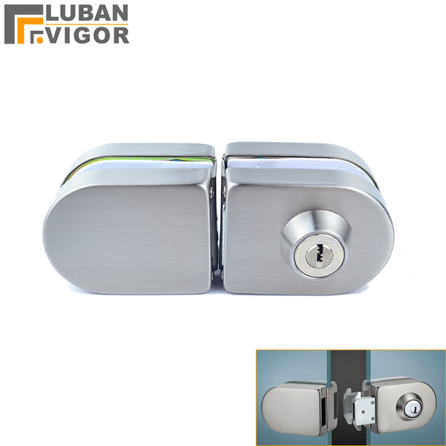 Sliding Central Glass Door Lock Stainless Steel No Need To Open Holes Bidirectional