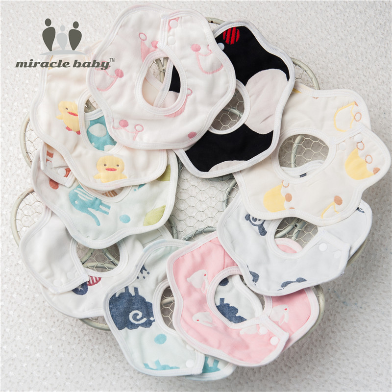 Miracle Baby 100% Cotton 6 Layer Muslin Feeding Floral-shape Burp Bandana Bibs Snap Burp ...