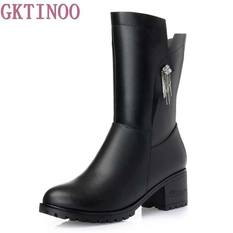 Genuine leather Mid-Calf Boots Square Heels Women Winter Shoes With Warm Fur Inside Fashion Brief Style Shoe For Women genuine leather square toe mid calf boots autumn winter boots warm shoes woman thick high heels shoes for women boots