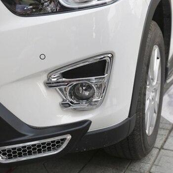 ABS الكروم لمازدا CX-5 CX5 الاكسسوارات 2013 2014 2015 2016 سيارة الجبهة الضباب مصباح الضباب غطاء خفيف تقليم سيارة التصميم 2 قطعة