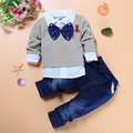 Spring&Autumn baby boys boutique party clothes 2pcs/set kids gentleman bow tie fake 2pcs shirts+handsome jeans free shipping