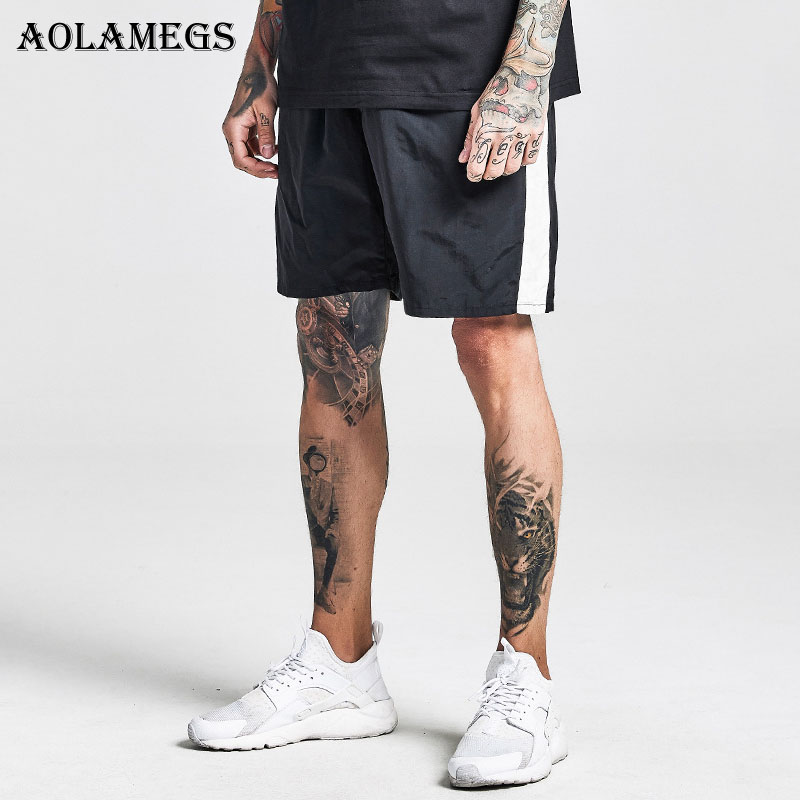 Aolamegs Shorts Men Harajuku Side Striped Bermuda Beach Knee length Shorts Elastic Mens Sweatpants Casual Fashion Streetwear