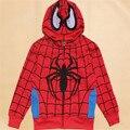 2-7 anos Atacado Frete grátis boy manga comprida hoodies camisolas caráter fora casaco de homem aranha vermelha