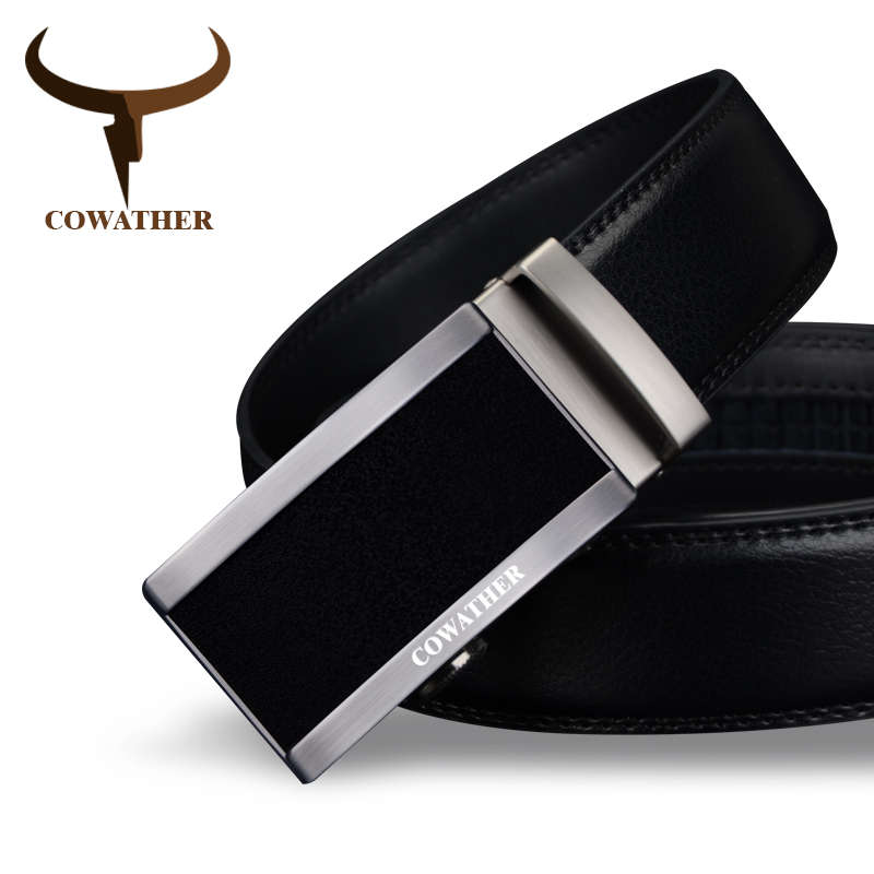 COWATHER 2019 Top Quality Cow Genuine Fashion Leather Men Belts For Men Automatic Buckle Strap Cinto Masculino Free Shipping