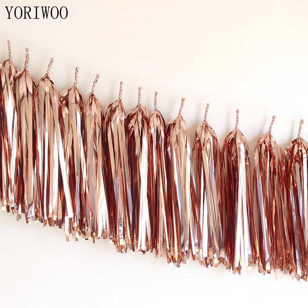 Yoriwoo 14 Inch 35 Cm Bộ 5 Hoa Hồng Vàng Tua Rua Mô Giấy Tua Rua Đảng Treo Tường Trang Trí Đám Cưới Vòng Hoa Sinh Nhật bunting
