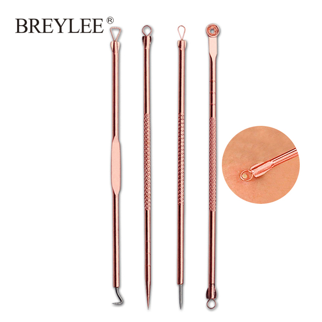 BREYLEE 4PCS Acne Removal Needle Tools Rose Gold Pore Cleanser Blackhead Remover Pimple Extractor Black Mask