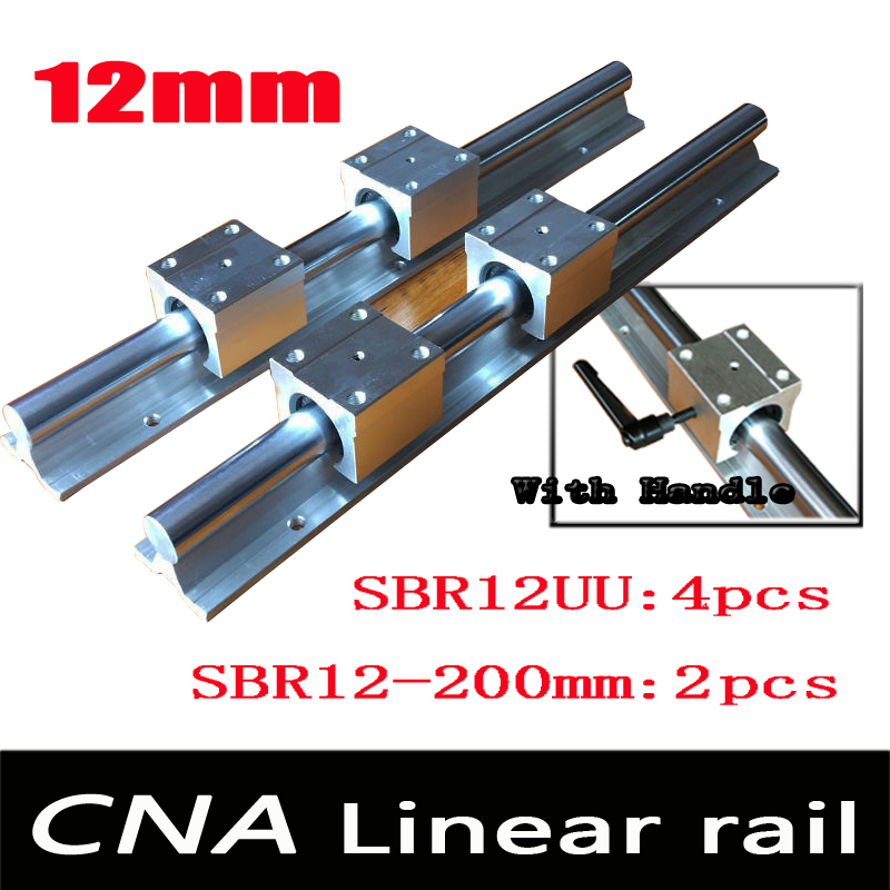 12mm linear rail SBR12 L 200mm support rails 2 pcs + 4 pcs SBR12UU blocks for CNC for 12mm linear shaft support rails цена