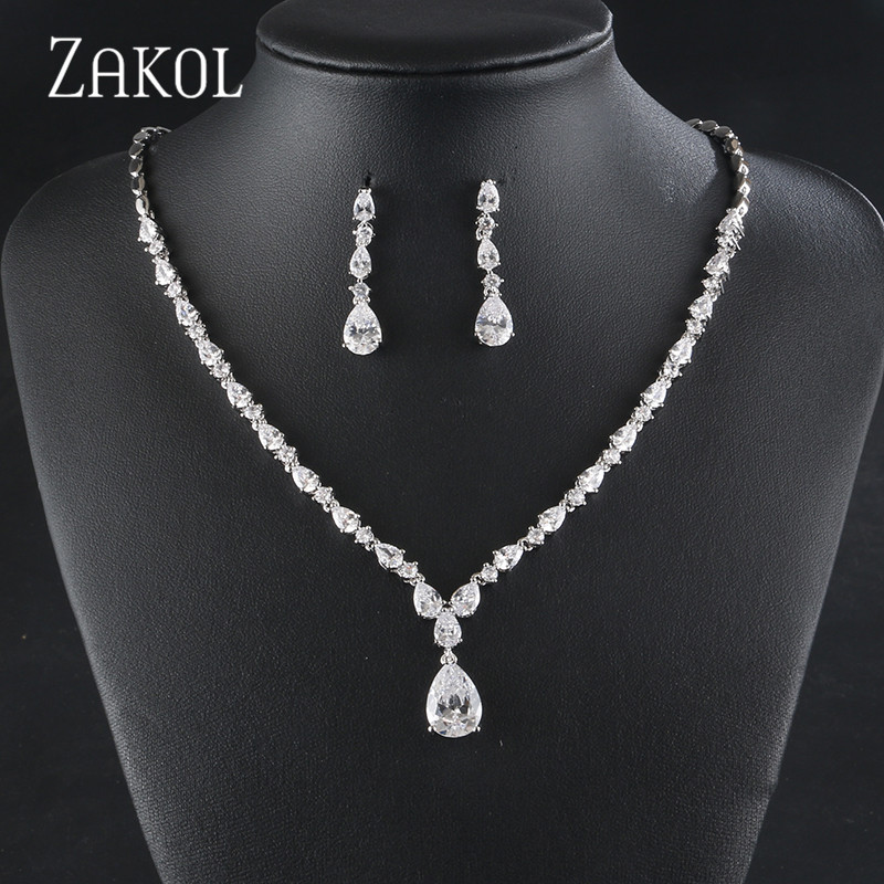 ZAKOL Elegant High Quality Wedding Jewelry Set Gold Zircon Drop-shaped Necklace Earrings Set Ladies Jewelry Accessories FSSP429ZAKOL Elegant High Quality Wedding Jewelry Set Gold Zircon Drop-shaped Necklace Earrings Set Ladies Jewelry Accessories FSSP429