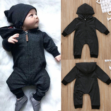 Solid Black Baby Boy Romper & Jumpsuit Newborn Infant Fahion Baby Clothing With Pocket and Zipper Hooded 0-18 M RP-26